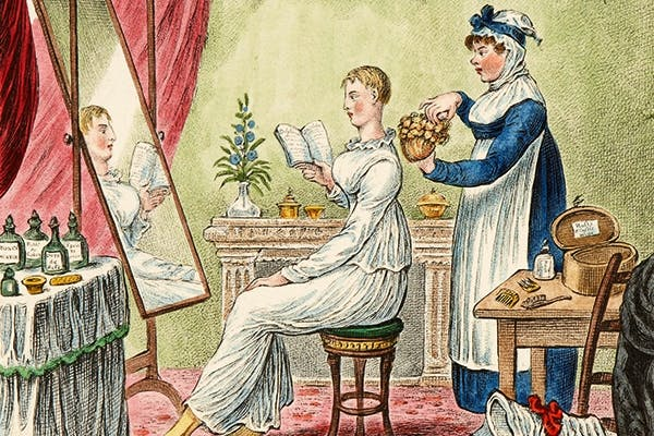 James Gillray's 'The Wig'. Hairdressing was a good time to catch up on the latest novel