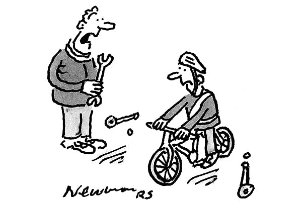 'We've got you off your stabilisers — next performance-enhancing drugs.'