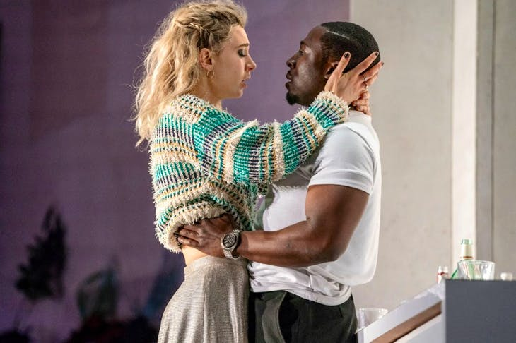 Vanessa Kirby as Julie and Eric Kofi Abrefa as Jean in Julie at the National Theatre. Photo: Richard H Smith