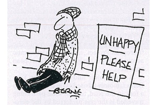 Bernie gag cartoon - 'Unhappy, please help'