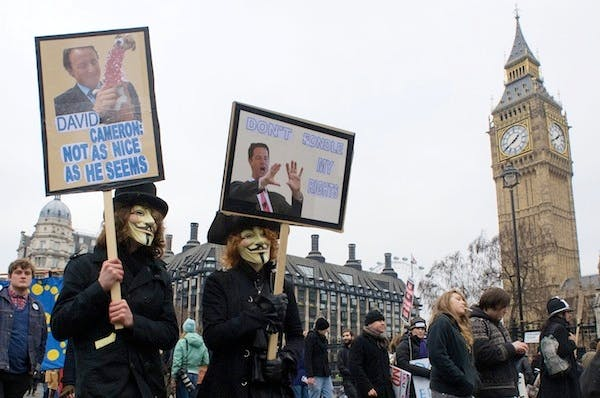 Students protest against the coalition's decision to raise tuition fees. Picture: Getty.