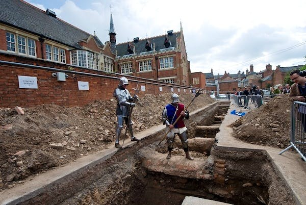 The site in Leicester where a skeleton that researchers believe could be British medieval king Richard III was found. Picture: Getty.