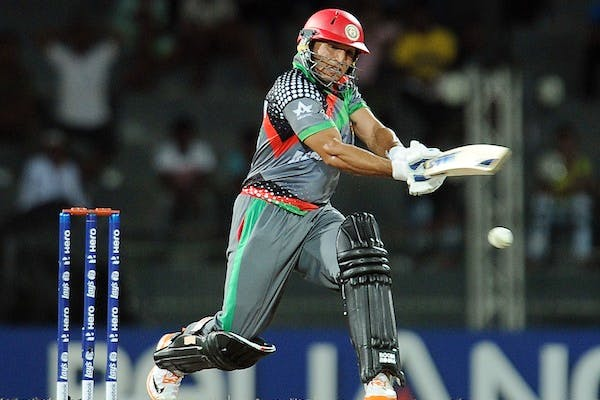 Afghan batsman Gulbodin Naib plays a shot during the ICC Twenty20 Cricket World Cup match between England and Afghanistan. Picture: Getty.