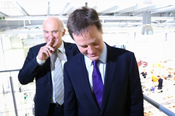 Nick Clegg and Vince Cable on a visit during the Liberal Democrat conference. Picture: Getty.