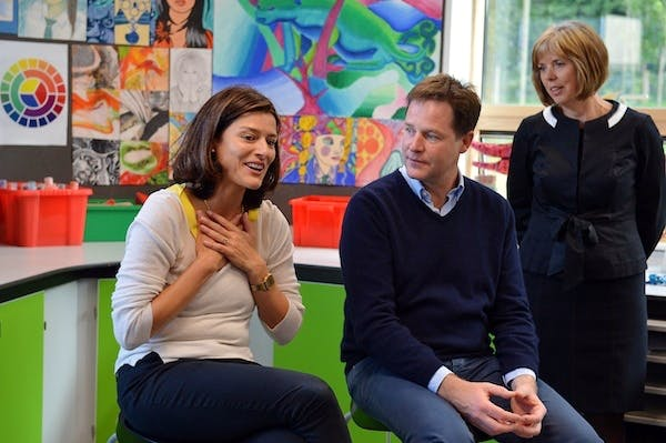 Nick Clegg on a visit to a school in Brighton yesterday, Picture: Getty.