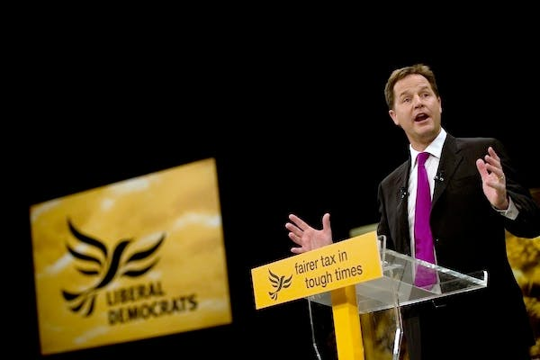 Nick Clegg addresses the Liberal Democrat conference. Picture: Getty.