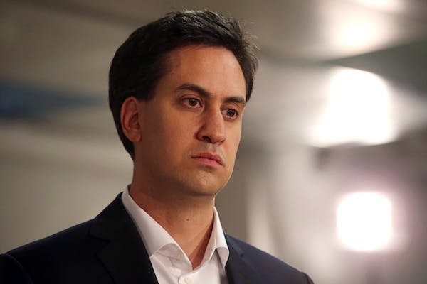 Ed Miliband takes part in a question-and-answer session on the NHS in Manchester. Picture: Getty.