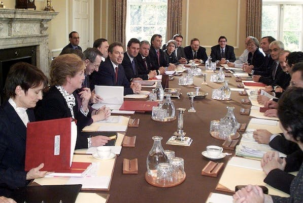 Tony Blair's cabinet meeting in 2001.