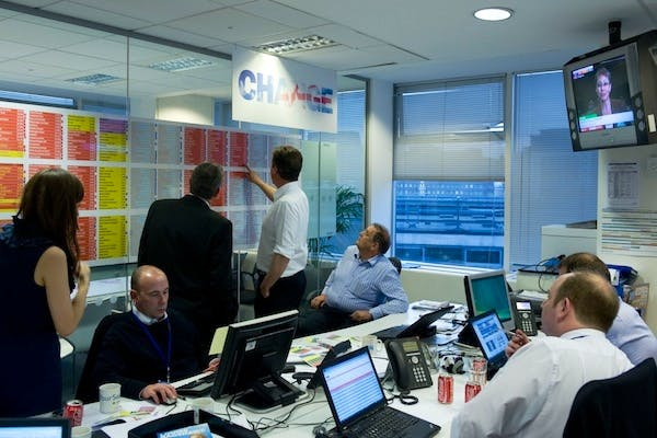 David Cameron and CCHQ staffers watch the results of the 2010 general election come in. Picture: Getty.