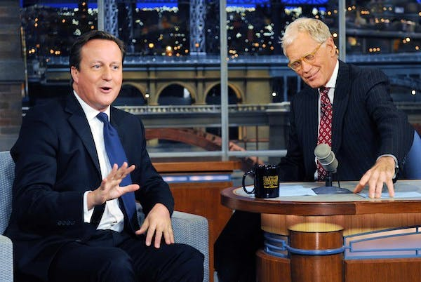 "David Cameron on ""The Late Show with David Letterman"" in New York. Picture: Press Association."