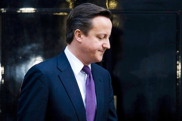 David Cameron after his last veto moment. Picture: Getty