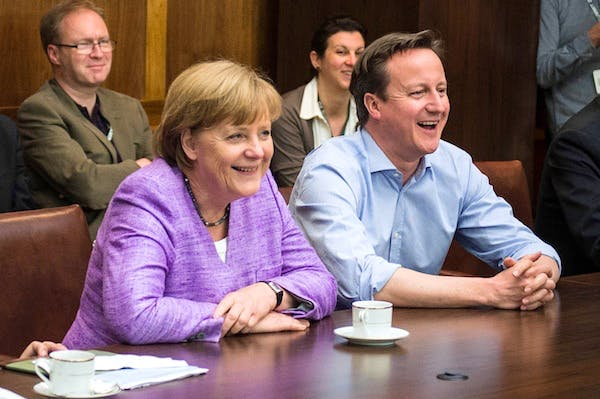 Angela Merkel and David Cameron had a phone conversation last night about banking union. Picture: Getty