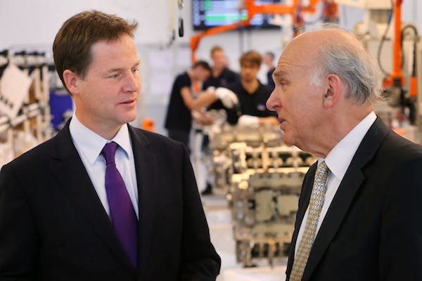 Nick Clegg and Vince Cable on a visit to a factory earlier this autumn. Picture: Getty
