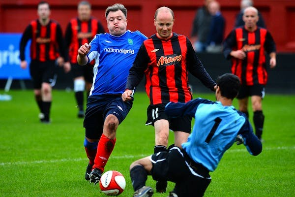 Ed Balls play football against journalists at the start of this year's Labour party conference. Picture: Getty.