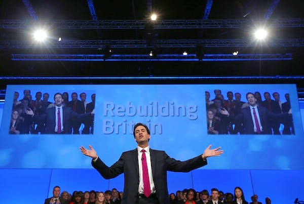 Ed Miliband delivers his speech to the Labour conference. Picture: Getty