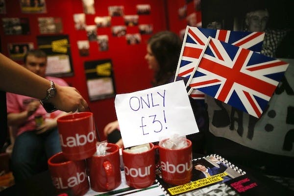 Merchandise on sale at the Labour party conference. Picture: Getty
