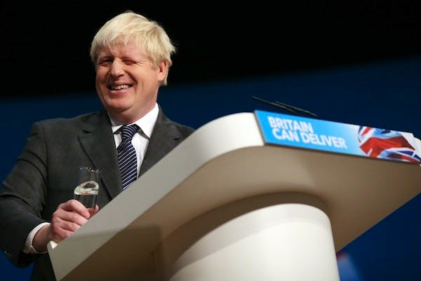 Boris Johnson addresses the Conservative party conference in Birmingham. Picture: Getty