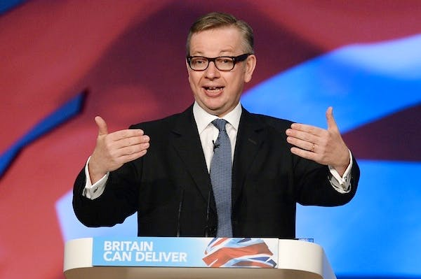 Michael Gove addresses the Conservative party conference. Picture: Getty