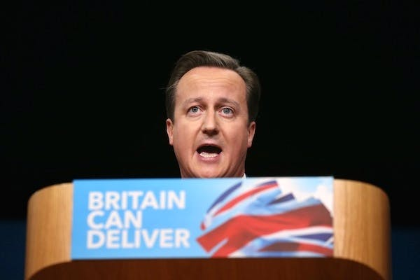 David Cameron devoted sections of his speech to defending the Conservative party against attacks from Ed Miliband. Picture: Getty