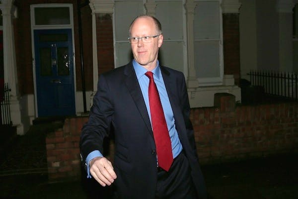 BBC director general George Entwistle leaves his home this morning ahead of a Commons select committee hearing on the Jimmy Savile scandal. Picture: Getty