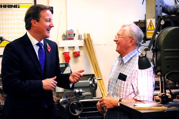 David Cameron visiting a manufacturer this morning as the GDP figures were announced. Picture: Getty