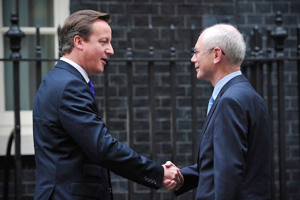 David Cameron with Herman Van Rompuy, who he met last week to discuss the forthcoming EU budget summit. Picture: Getty
