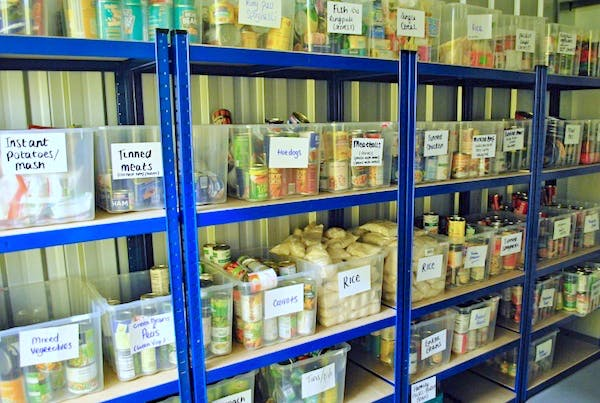 A storeroom at the One Can food bank in High Wycombe.