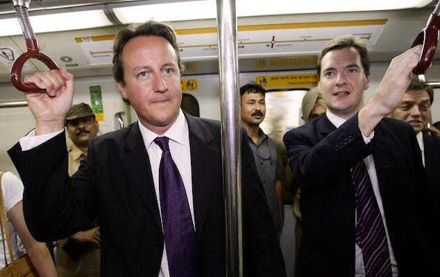 George Osborne and David Cameron riding pleb class. Today the Chancellor was caught with a standard class ticket in a first class carriage. Picture: Press Association