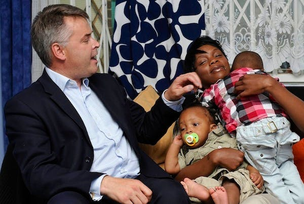 Tim Loughton on a visit as Children's Minister. Picture: Getty
