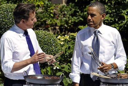 David Cameron and Barack Obama bond over a barbecue in the Downing Street garden. Picture: Getty