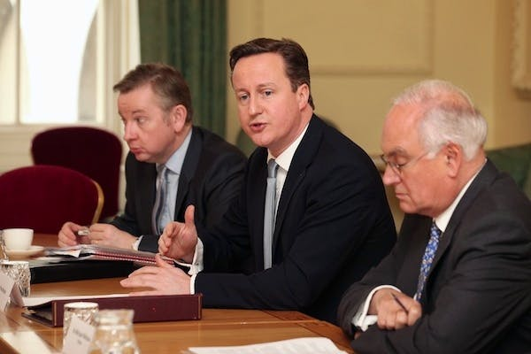 Michael Gove and David Cameron hold a meeting with Ofsted chief Sir Michael Wilshaw, who today criticised the way some local authorities handle underperforming schools. Picture: Getty