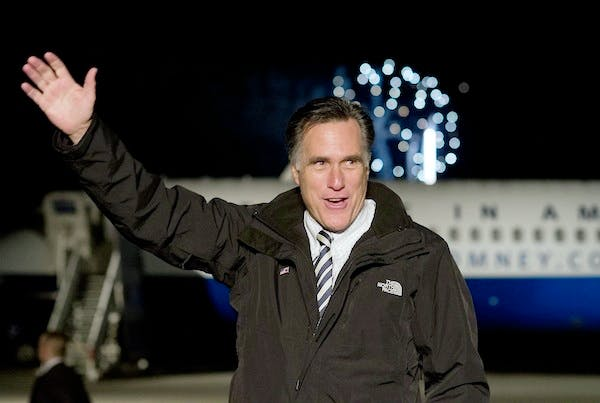 Mitt Romney at a rally yesterday in Virginia. Picture: Getty