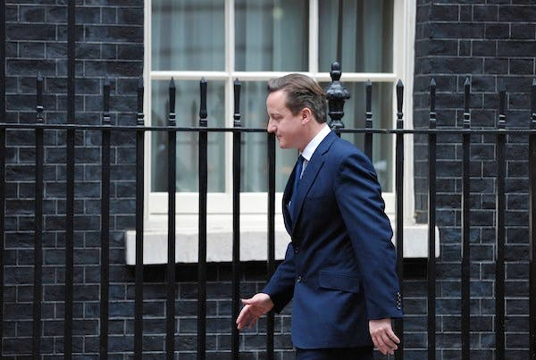 David Cameron in Downing Street yesterday. The Prime Minister has been reading the Leveson report ahead of its publication today. Picture: Getty