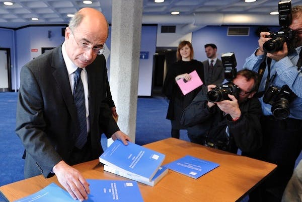 Lord Justice Leveson with his report on press standards. Picture: Getty