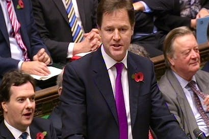 Nick Clegg faced Harriet Harman at today's Prime Minister's Questions. Picture: PA