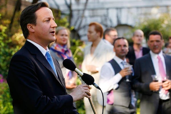 David Cameron addresses a Gay Pride reception in Downing Street. The Prime Minister today said he wanted to allow churches and other religious institutions to conduct same-sex marriages. Picture: Getty