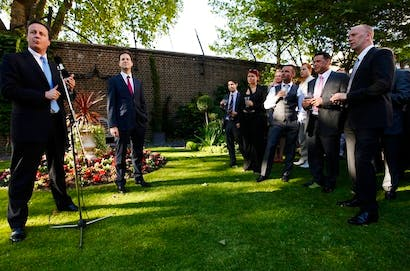 David Cameron speaks at a Downing Street reception on gay marriage. Picture: Getty