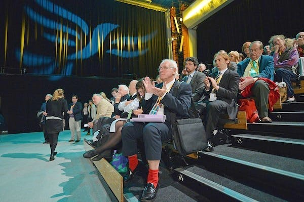 Lib Dems approving a motion on secret courts at the party's autumn conference in Brighton. Picture: Getty