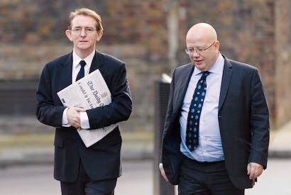Tony Gallagher, editor of The Telegraph, and Chris Blackhurst, editor of The Independent, arrive in Downing Street for talks on press regulation earlier this week. Picture: Getty
