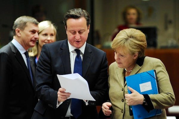 David Cameron and Angela Merkel at the European Council summit at the end of last week. Picture: Getty