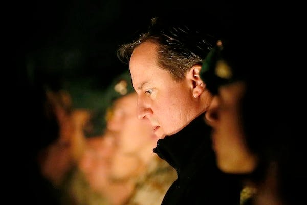 David Cameron in Afghanistan today. He is preparing to speak about his Europe policy in the new year. Picture: Getty
