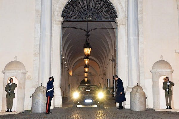 Italian Prime Minister Mario Monti leaves in a car the Quirinale Presidential palace after handing in his resignation to President Giorgio Napolitano. Picture: Getty