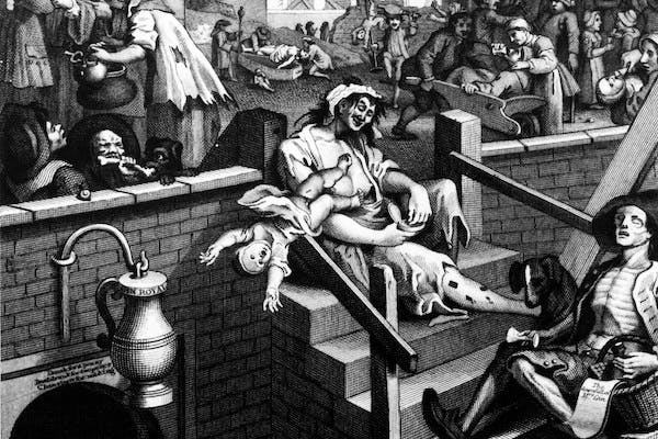 The scenes that Hogarth depicted in Gin Lane in 1751 may have evolved over time, but policymakers have still not managed to stop Britons boozing. Picture: Three Lions/Getty Images