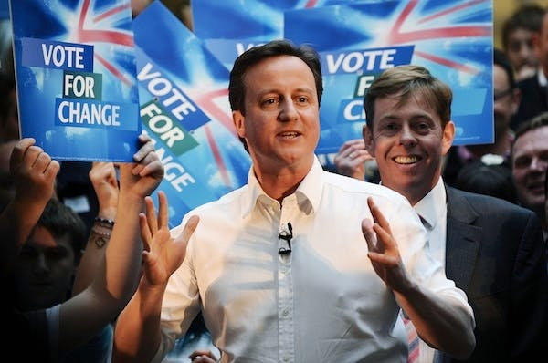 David Cameron at the pre-election rally where he made his pledge on pensioner benefits in 2010. Picture: Getty