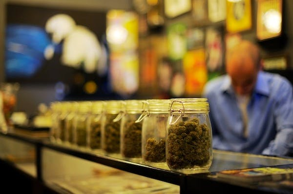 A marijuana shop in Los Angeles. MPs today recommended that the government should consider decriminalising some drugs. Picture: Getty