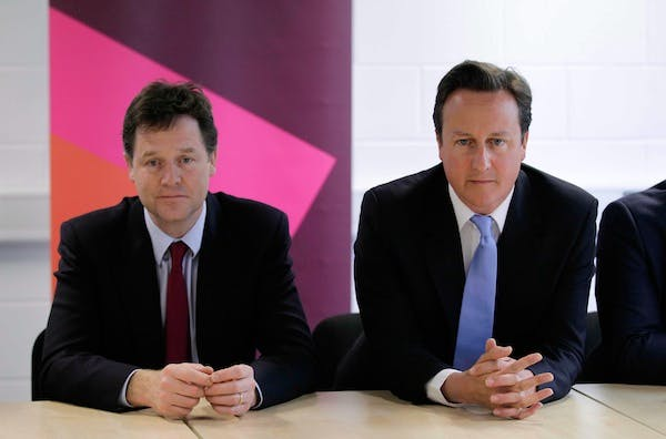 David Cameron and Nick Clegg have released the foreword to the Mid-Term Review document. Picture: Getty