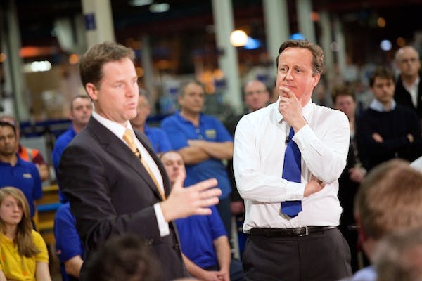 Nick Clegg and David Cameron at their last Coalition relaunch. Picture: Getty
