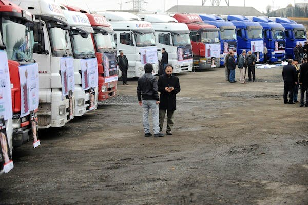 A line of supply trucks of the Foundation for Human Rights and Freedoms and Humanitarian Relief (IHH). Picture: Getty