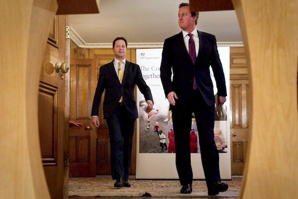 David Cameron and Nick Clegg announcing the Mid-Term Review today. Picture: Getty