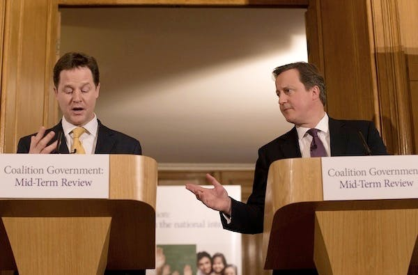 David Cameron and Nick Clegg didn't mention a hitherto unpublished list of 70 missed pledges when they launched the Mid-Term Review on Monday. Picture: Getty